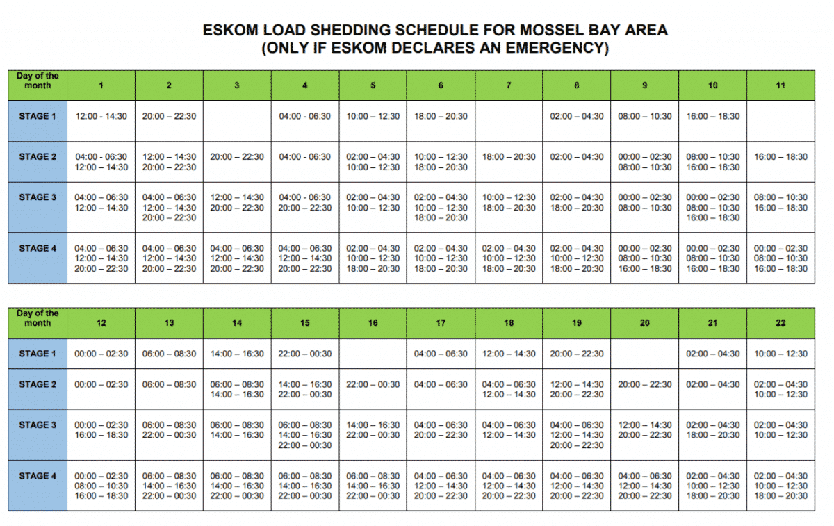 Mossel Bay Load Shedding Schedule